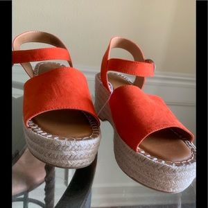 Two piece Espadrille Wedge Sandal Size 10